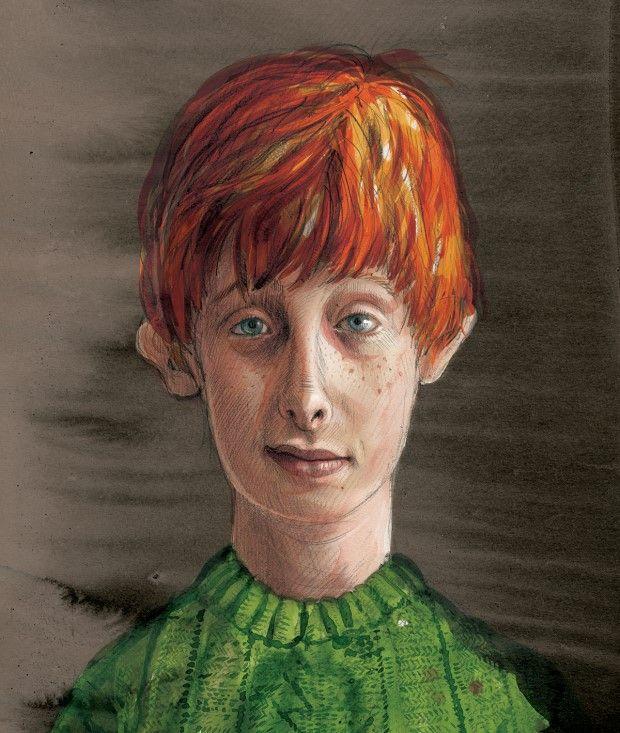 Rony Weasley repleto de sardas na ilustração de Jim Kay de Harry Potter